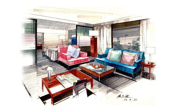 Plain Interior Design Hand Drawings Elite Designers Drawing Room R